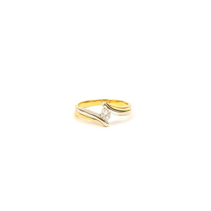 Złoty ZARĘCZYNOWY Pierścionek 585 Białe Złoto r12