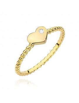 Złoty Pierścionek Serce...