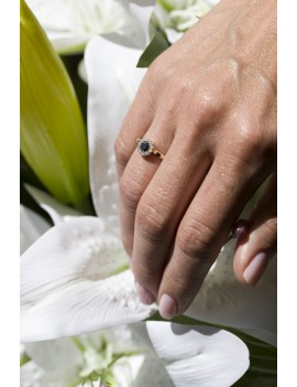 Złoty Pierścionek Zaręczynowy Czarny Brylant Białe Złoto