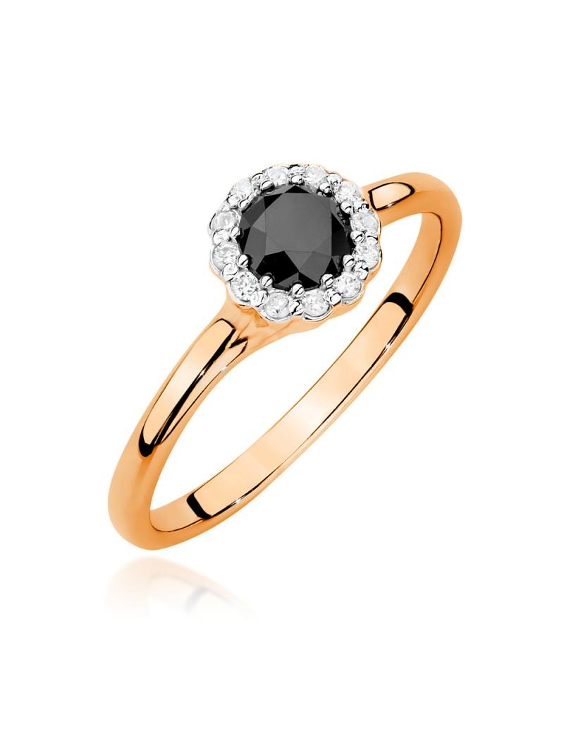 Złoty Pierścionek Zaręczynowy Czarny Brylant Różowe Złoto