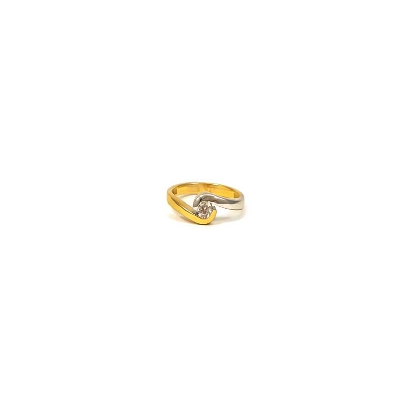 Złoty ZARĘCZYNOWY Pierścionek 585 Białe Złoto r11