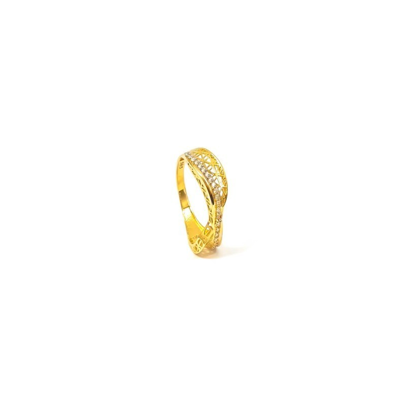 Złoty PIĘKNY AŻUROWY Pierścionek pr585 Cyrkonie