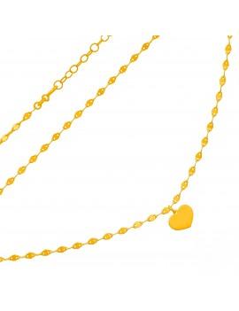 Złoty Podwójny Naszyjnik Serce Grawer