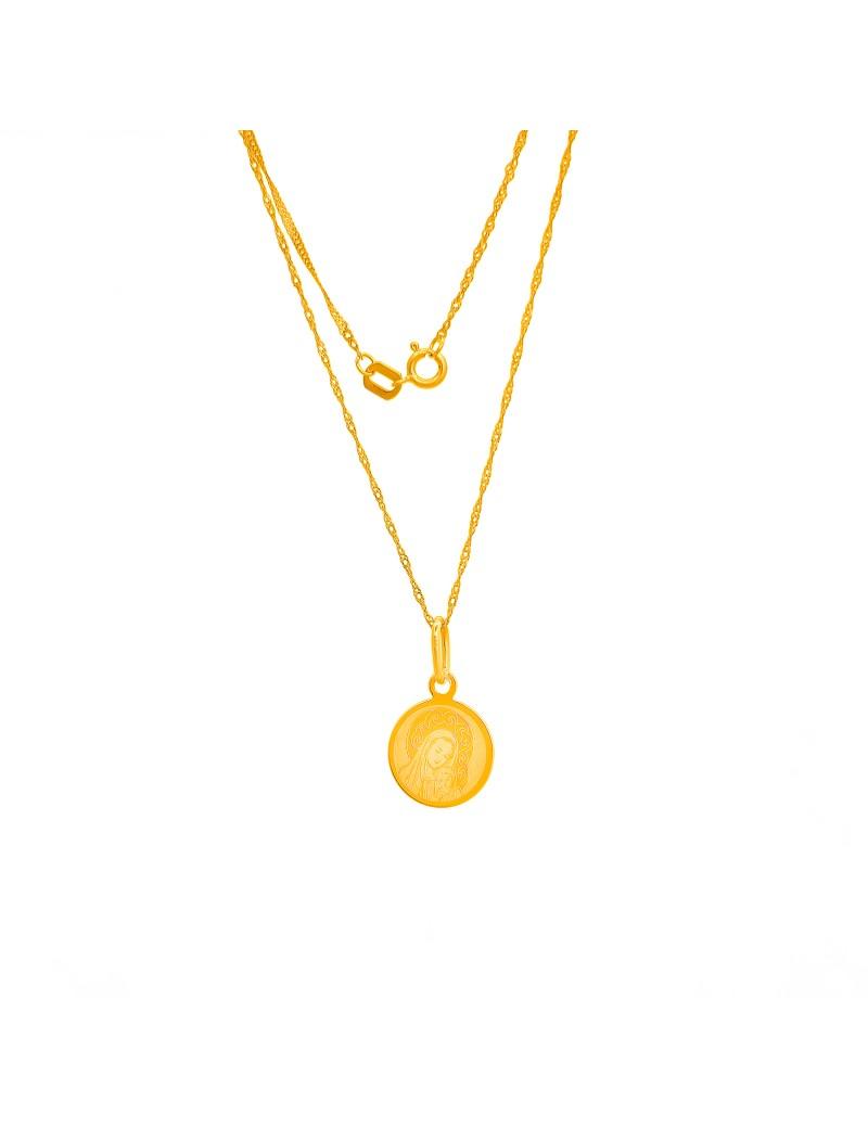 Złoty Komplet Łańcuszek + Medalik Chrzest Komunia