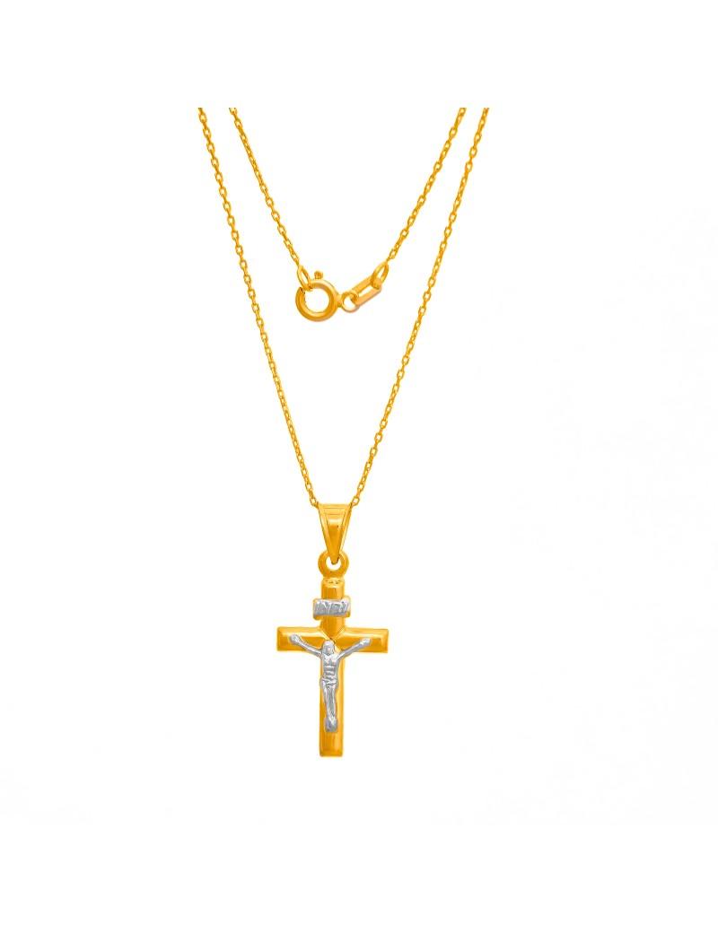Złoty Komplet Łańcuszek + Krzyżyk Chrzest Komunia Grawer
