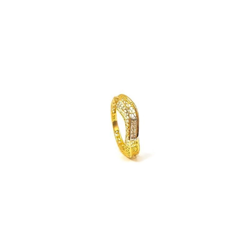 Złoty Ażurowy Pierścionek Cyrkonie