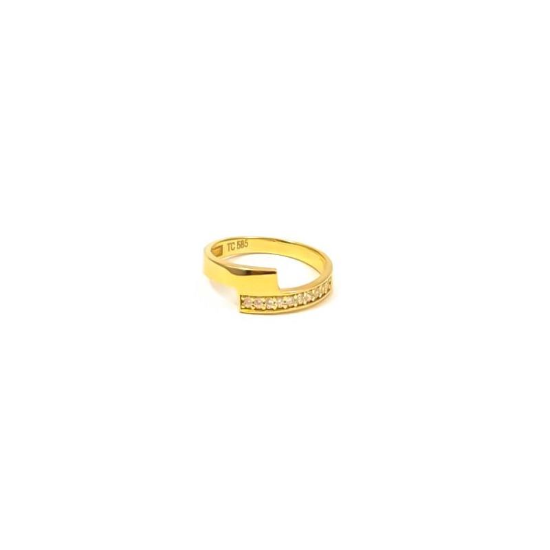 Złoty MODNY Pierścionek pr585 Cyrkonie r16
