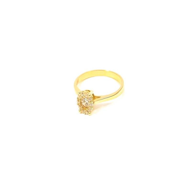 Złoty ZARĘCZYNOWY Pierścionek pr585 Cyrkonie r14