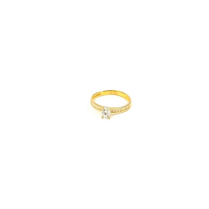 Złoty Pierścionek pr585 Cyrkonie na ZARĘCZYNY r16