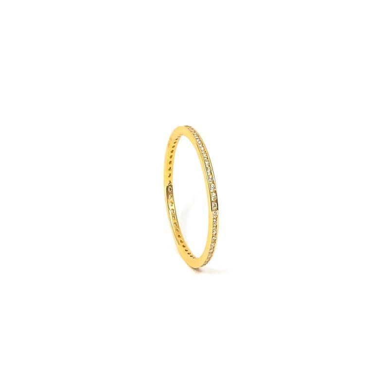 Złoty Pierścionek 585 CYRKONIE NA OKOŁO rozmiar 9