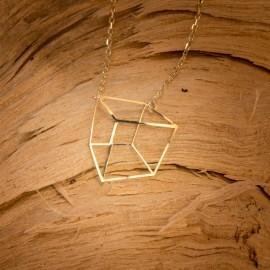 Złoty Naszyjnik Celebrytka Kwadrat 3D Grawer