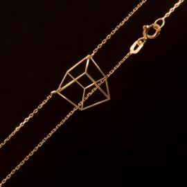 Złoty Naszyjnik Celebrytka Kwadrat 3D