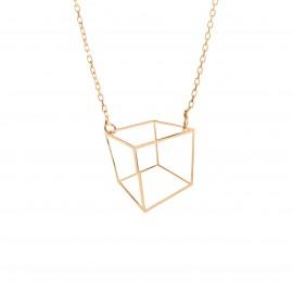 Złoty Naszyjnik Kwadrat 3D