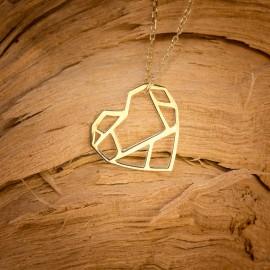 Złoty Naszyjnik Celebrytka Serce Origami Grawer