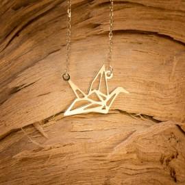 Złoty Naszyjnik Celebrytka Żuraw Origami Grawer
