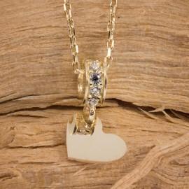 Złoty Naszyjnik Pełne Serce Cyrkonie