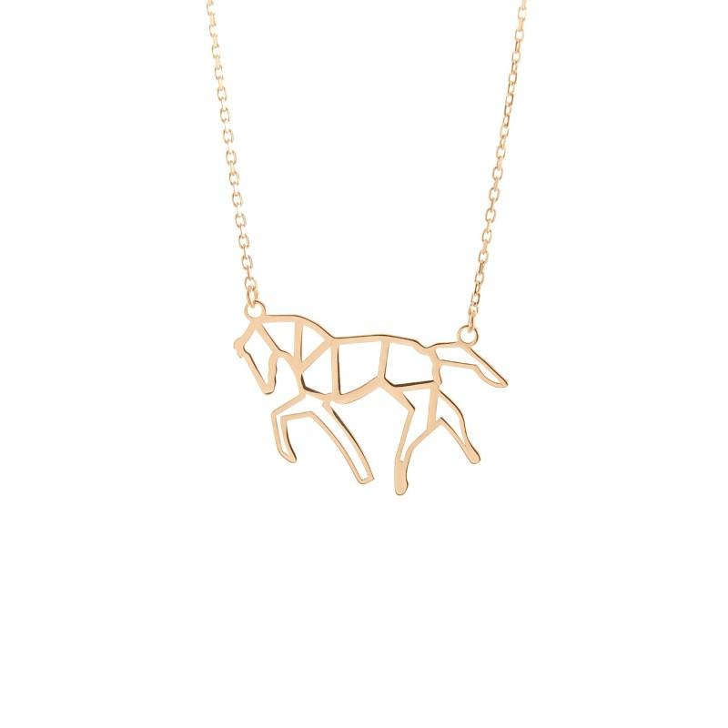 Złoty Naszyjnik Celebrytka Koń Origami