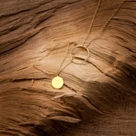 Złoty Naszyjnik Celebrytka Wiszące Kółka