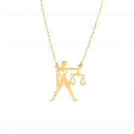 Złoty Naszyjnik Celebrytka Zodiak Waga