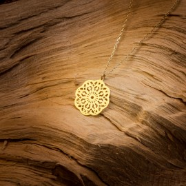 Złoty Naszyjnik Celebrytka Ażurowy Kwiat