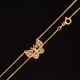 Złoty Naszyjnik Celebrytka Ażurowy Motyl