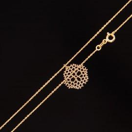Złoty Naszyjnik Celebrytka Ażurowy Płatek