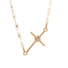 Złoty Naszyjnik Celebrytka Leżący Krzyżyk Cyrkonia
