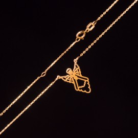 Złoty Naszyjnik Celebrytka Modny Aniołek Grawer