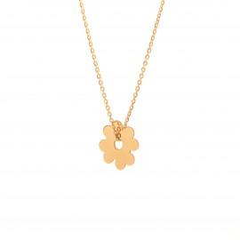 Złoty Naszyjnik Celebrytka Kwiatek Grawer