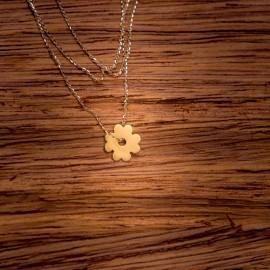 Złoty Naszyjnik Celebrytka Modny Kwiatek