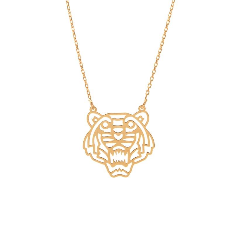 Złoty Naszyjnik Celebrytka Tygrys Origami Grawer
