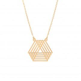 Złoty Naszyjnik Celebrytka Geometryczne Trójkąty Grawer