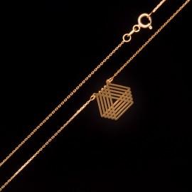 Złoty Naszyjnik Celebrytka Geometryczne Trójkąty