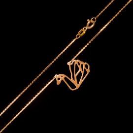 Złoty Naszyjnik Celebrytka Łabędź Origami Grawer