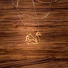Złoty Naszyjnik Łabędź Origami
