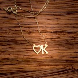 Złoty Naszyjnik Celebrytka Litera K i Serce