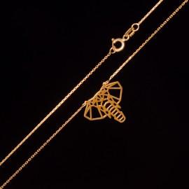 Złoty Naszyjnik Celebrytka Słoń Origami Grawer