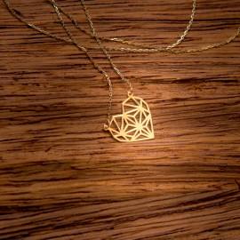 Złoty Naszyjnik Celebrytka Serce Origami