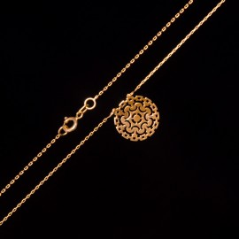 Złoty Naszyjnik Celebrytka Ażurowy Wzór Grawer