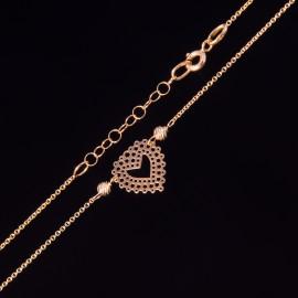 Złoty Naszyjnik Celebrytka Ażurowe Serce Kulki