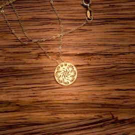 Złoty Naszyjnik Celebrytka Ażurowe Kółko