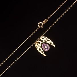Złoty Naszyjnik Celebrytka Skrzydła Anioła Fiolet Grawer