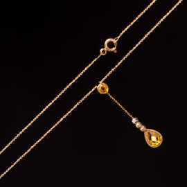 Złoty Naszyjnik Żółta Wisząca Cyrkonia