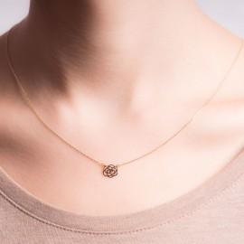 Złoty Naszyjnik Celebrytka Ażurowy Kwiatek