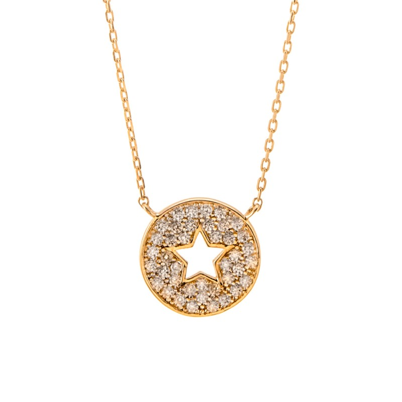 Złoty Naszyjnik Gwiazda Cyrkonie