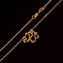 Złoty Naszyjnik Celebrytka Słonik Origami