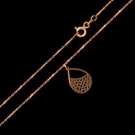 Złoty Naszyjnik Celebrytka Ażurowa Kropla Grawer