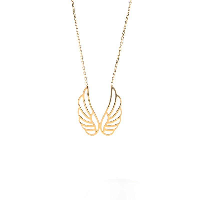 Złoty Naszyjnik Celebrytka Skrzydła Anioła Grawer
