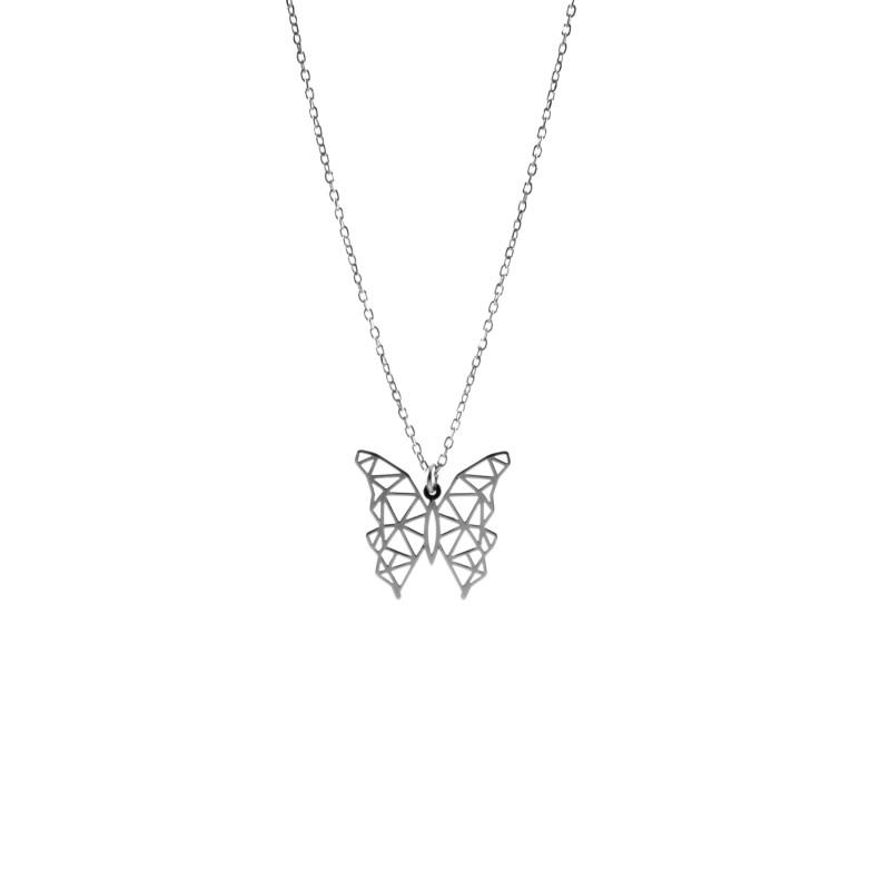 Srebrny Naszyjnik Celebrytka Motyl Origami