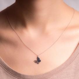 Srebrny Naszyjnik Celebrytka Ażurowy Motyl